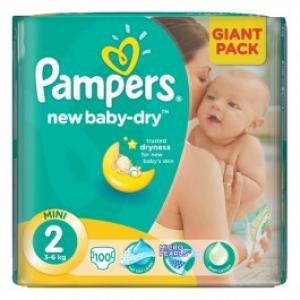 Scutece PAMPERS New Baby 2 Mini Giant Pack 100 buc 3 6 kg