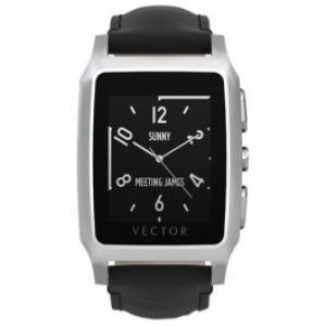 Smartwatch VECTOR Meridian Steel with Black Leather Strap