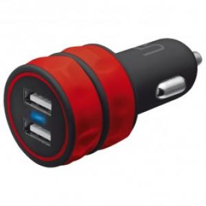 Incarcator auto universal TRUST 10W 2 USB Red