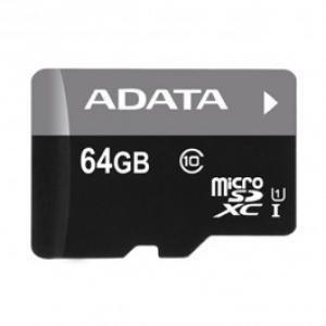 Card de memorie microSDXC 64GB ADATA Clasa 10 UHS I adaptor SD